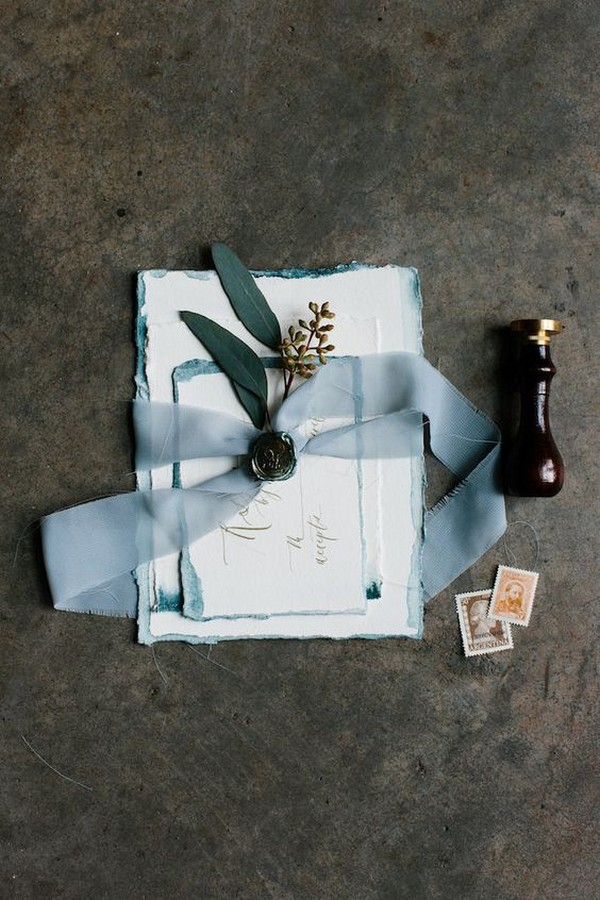 chic vintage blue wedding invitations