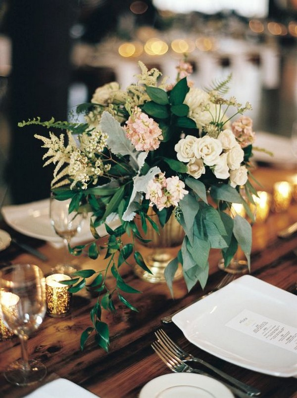 chic vintage winter wedding centerpiece