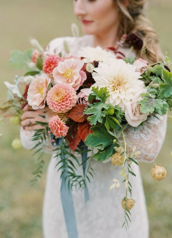 chic wedding bouquet with dahlias