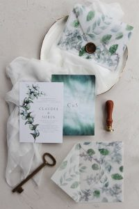 chic wedding invitations with vellum pocket