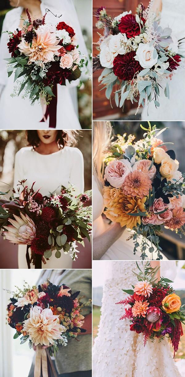 dahlia wedding bouquets for fall