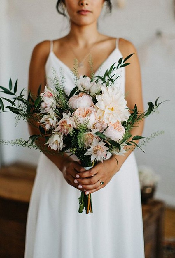 dahlias and garden roses blush and greenery wedding bouquet