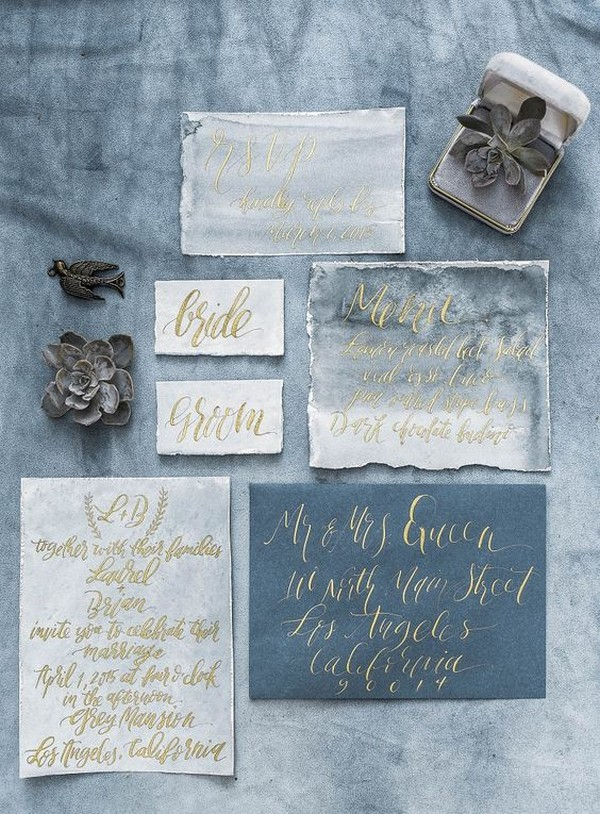dusty blue themed calligraphy wedding invitations