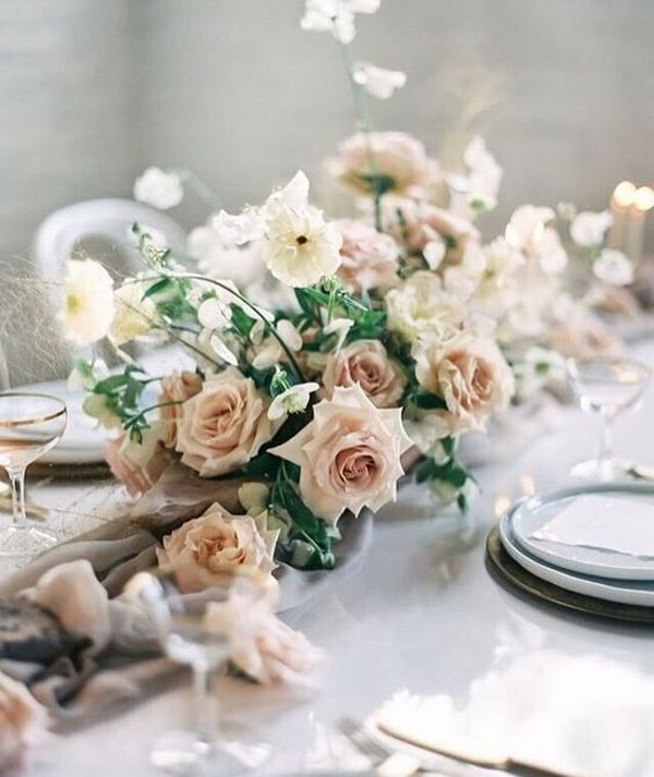 dusty rose winter wedding centerpiece ideas