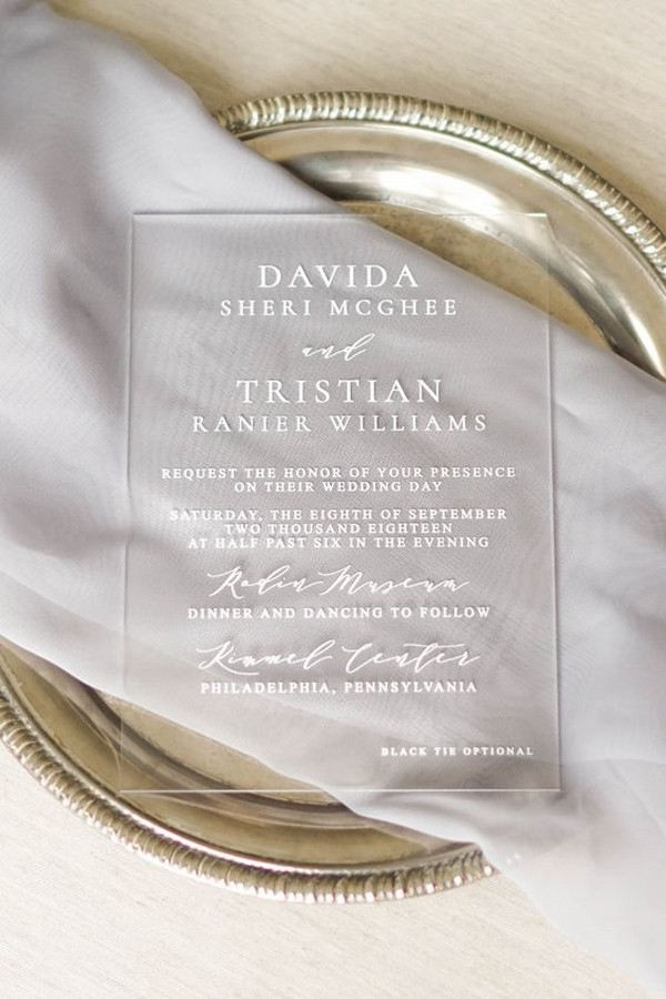 elegant acrylic wedding invitation