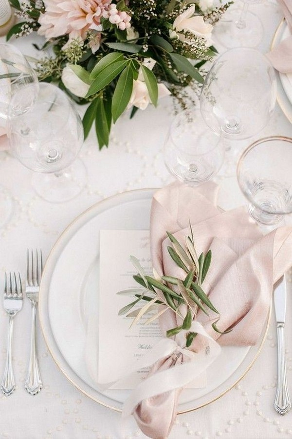 elegant blush wedding table setting