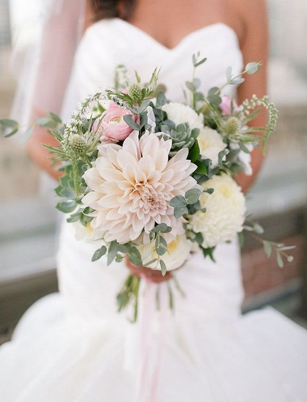 elegant dahlia wedding bouquet
