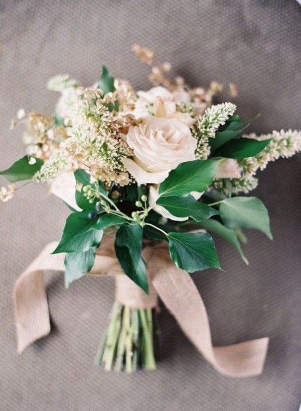 elegant neutral wedding bouquet