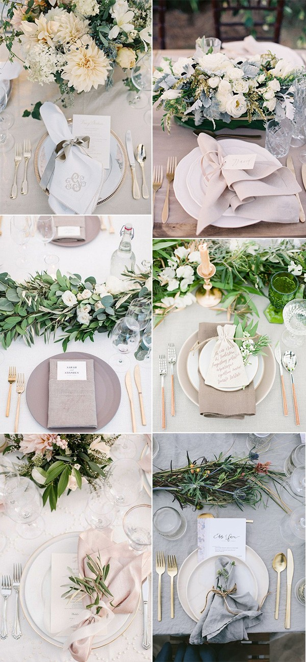 elegant neutral wedding centerpieces
