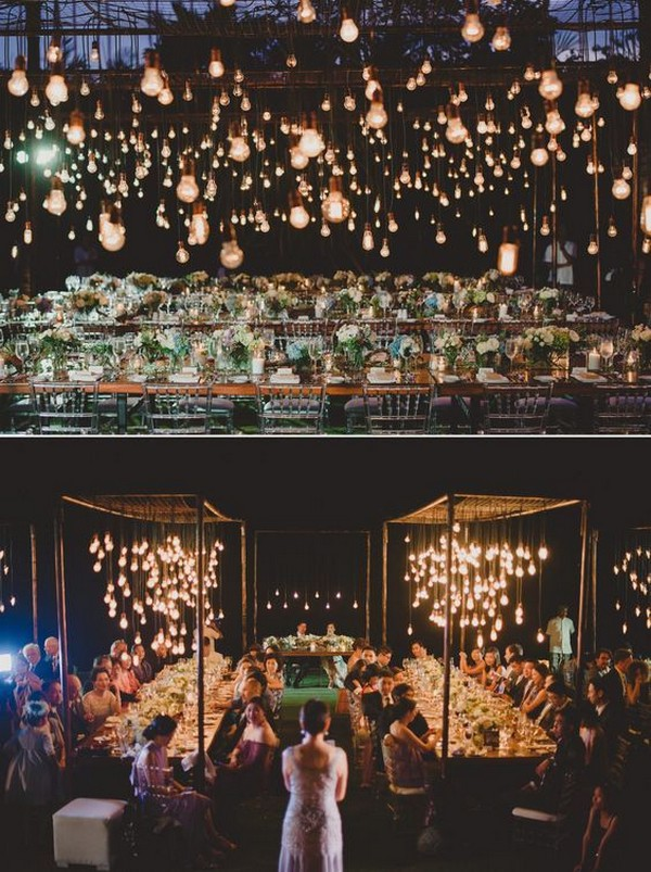 fairytale outdoor night wedding reception ideas