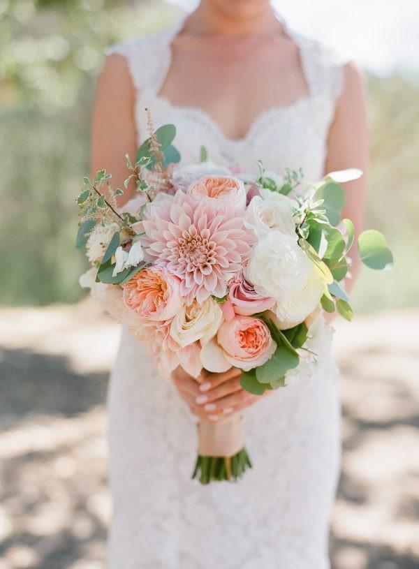 garden rose and dahlia wedding bouquet