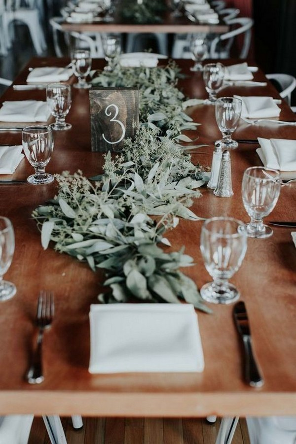 greenery winter wedding centerpieces