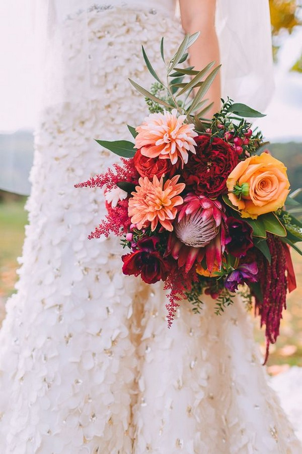 hot pink orange and blush dahlia wedding bouquet
