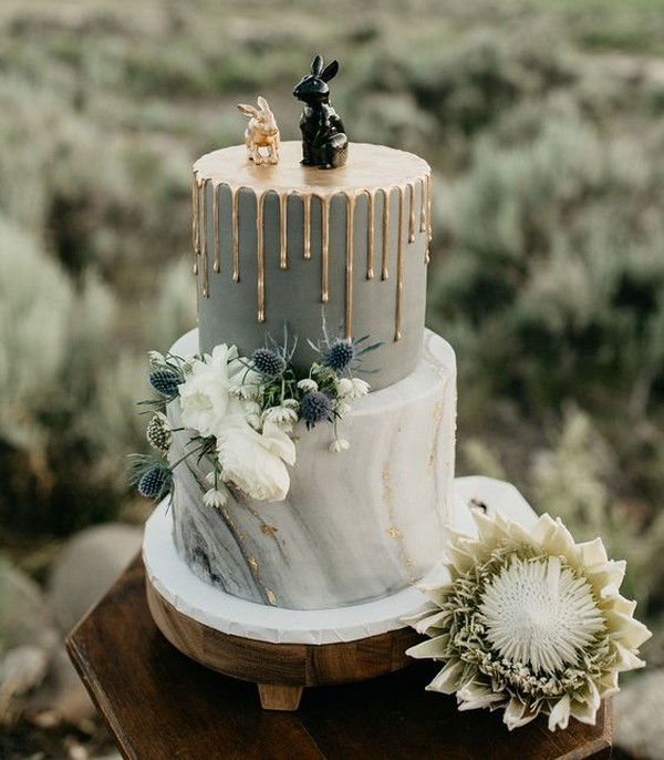 modern marble wedding cake with metallic gold drips