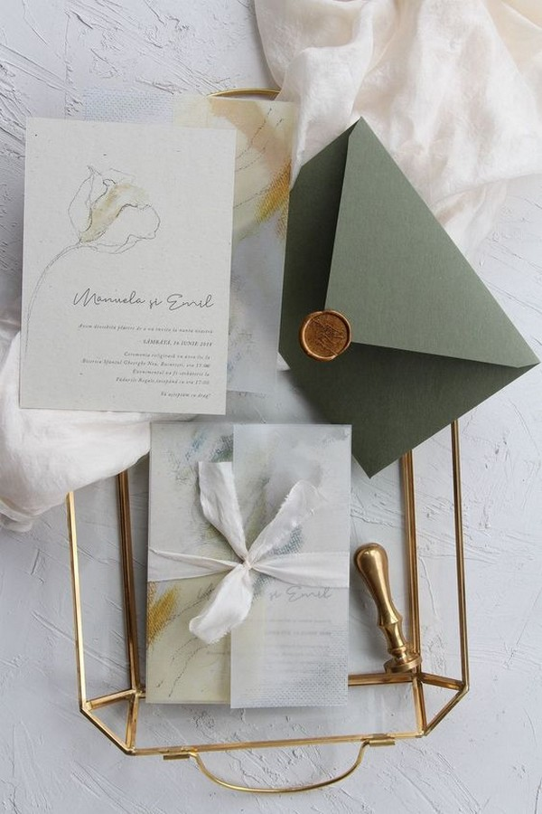 modern wedding invitation with vellum envelope