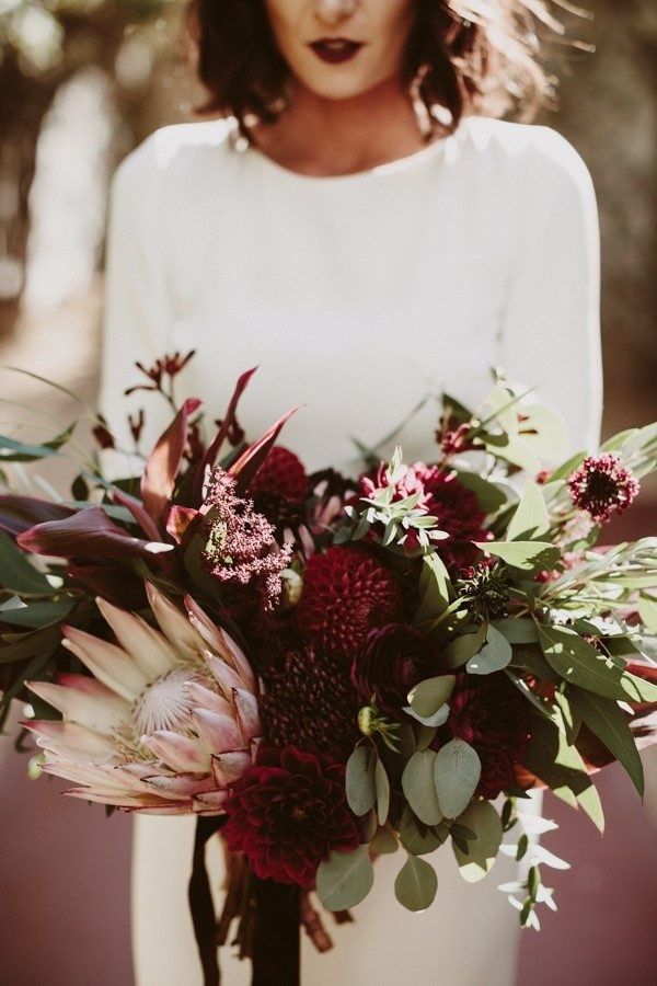 moody burgundy dahlia wedding bouquet ideas
