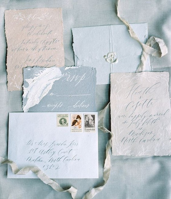 neutral colors cotton rag paper wedding invitations