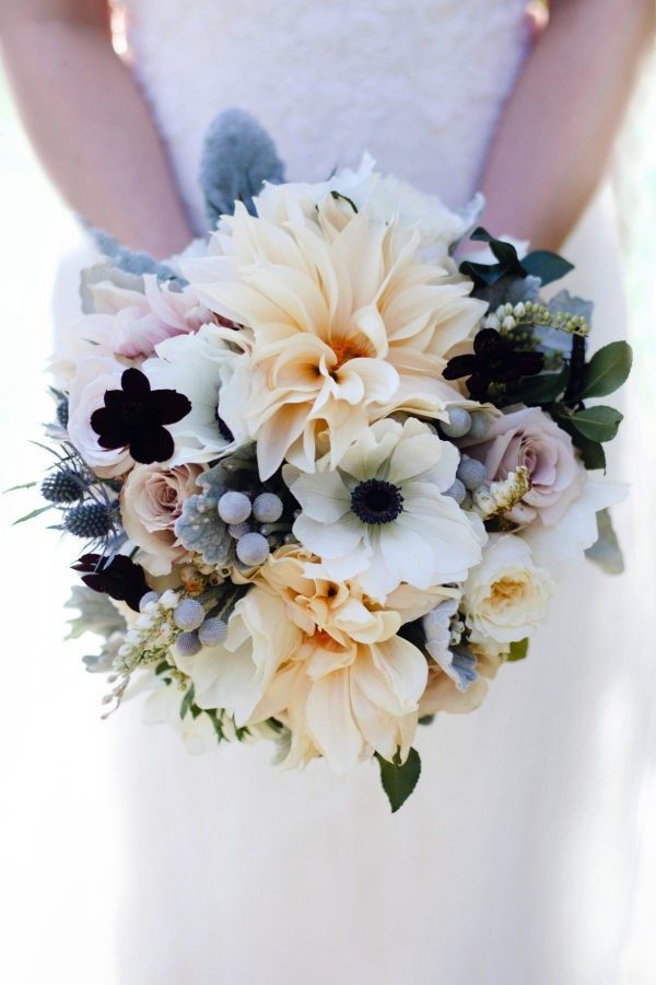 neutral dahlia wedding bouquet