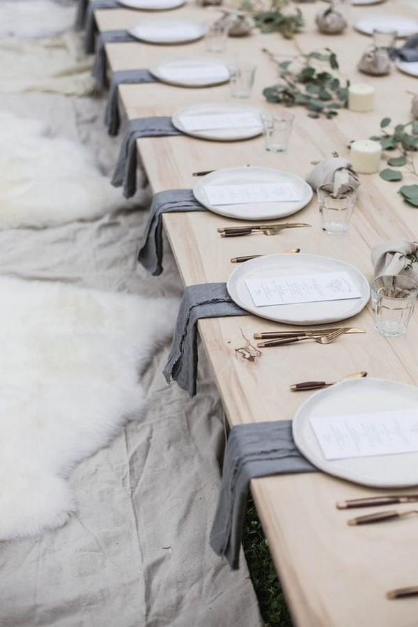 neutral gray wedding table settings