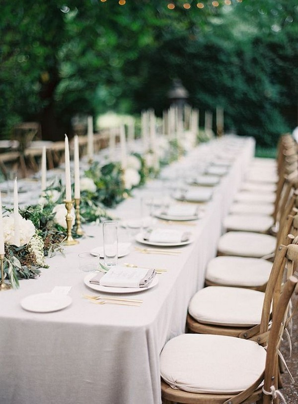neutral outdoor wedding table settings