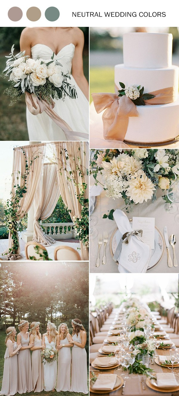 neutral wedding color ideas for 2019 trends