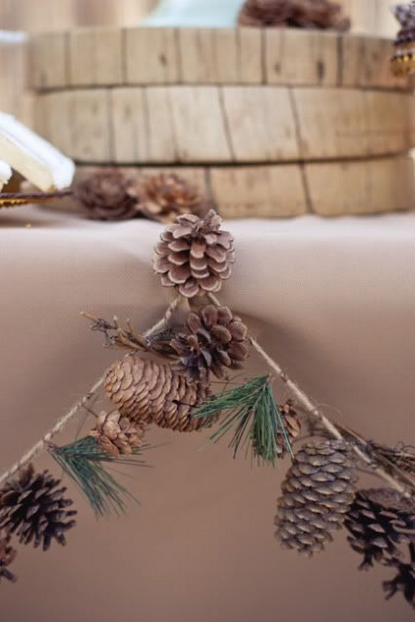 pinecone garland for winter bridal shower decoration ideas