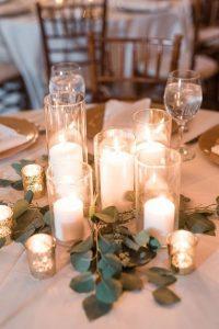 romantic candle lights wedding centerpiece