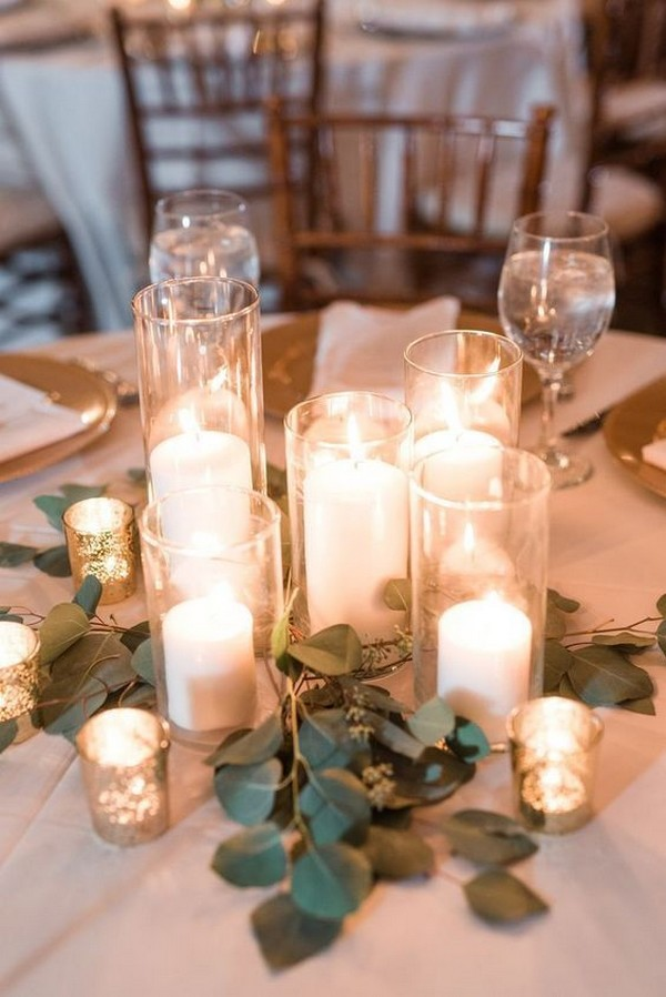 romantic candle lights wedding centerpiece