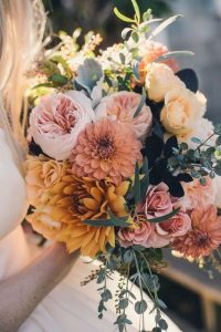 romantic dahlia wedding bouquets