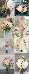 romantic dahlia wedding bouquets ideas