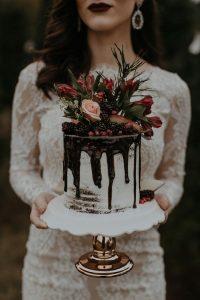 ruby red chocolate drip wedding cake