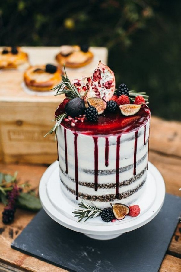semi naked drip wedding cake with fresh fruits