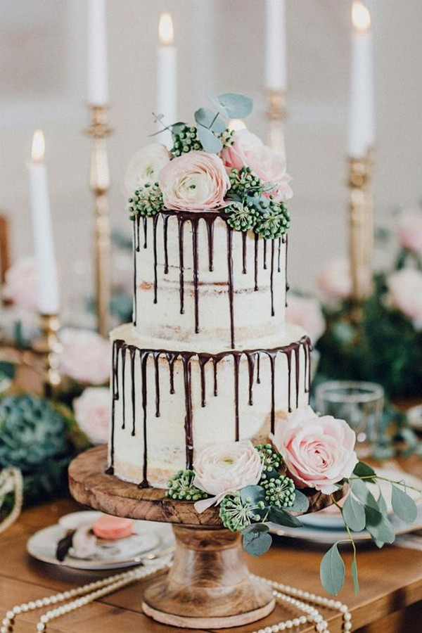 semi naked wedding cake with chocolate drip