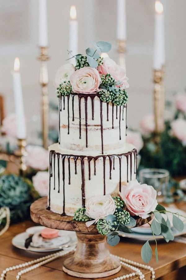 semi naked wedding cake with chocolate drip