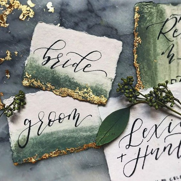 shades of green and gold cotton rag paper wedding cards