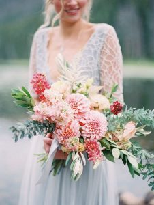 shades of pink dahlia bridal bouquet