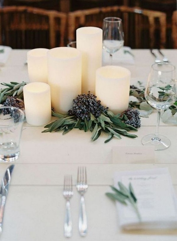 simple and elegant winter wedding centerpiece ideas with candles