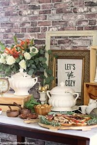 soup bar with grilled cheese tartines winter bridal shower ideas