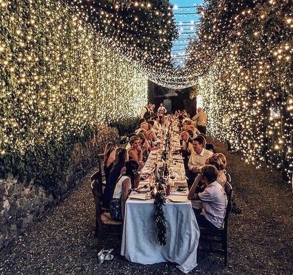 stunning outdoor wedding reception ideas with string lights