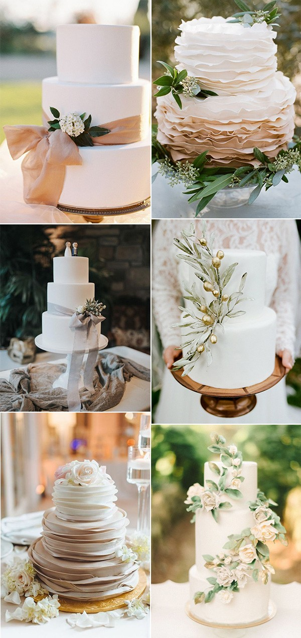 trending neutral elegant wedding cakes