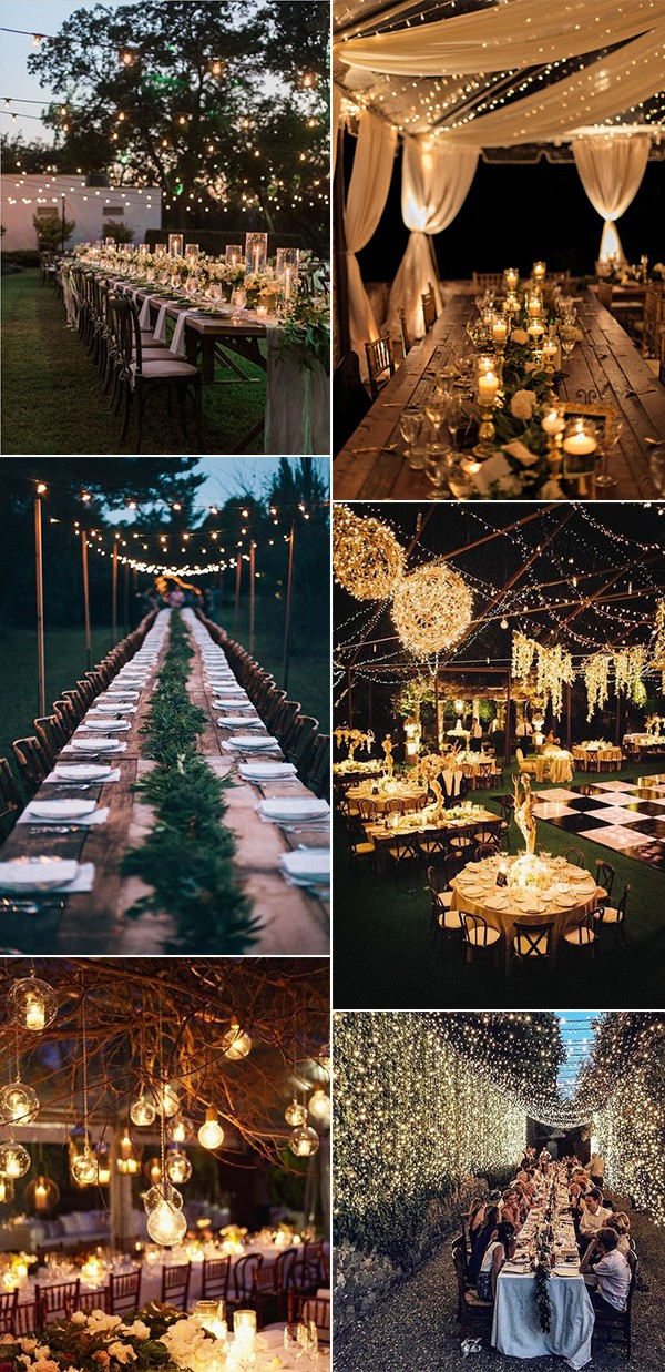 trending night wedding reception ideas with stunning lights