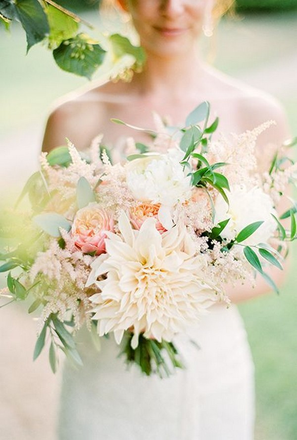 trending wedding bouquet with dahlia and garden roses