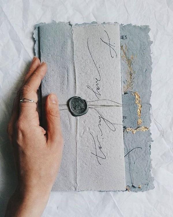 vintage cotton rag paper wedding invitations 2