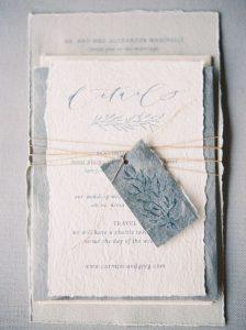 vintage cotton rag paper wedding invitations