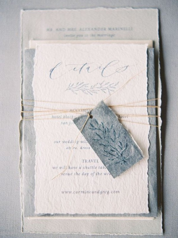 vintage cotton rag paper wedding invitations