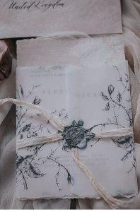 vintage floral wedding invitation with vellum envelope