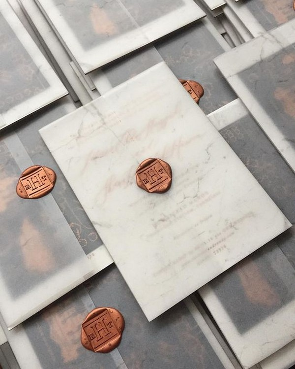 vintage wedding invitation with vellum envelope