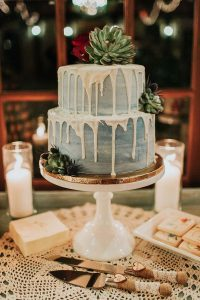white and blue wedding cake with succulents