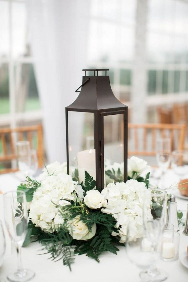 white and green lantern wedding centerpiece