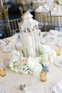 white blush and gold winter wedding centerpiece